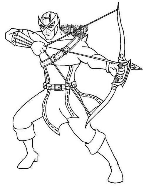 Best Hawkeye Marvel Coloring Page for Boys
