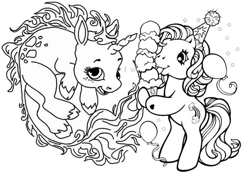 Birthday Baby Unicorn Coloring Page
