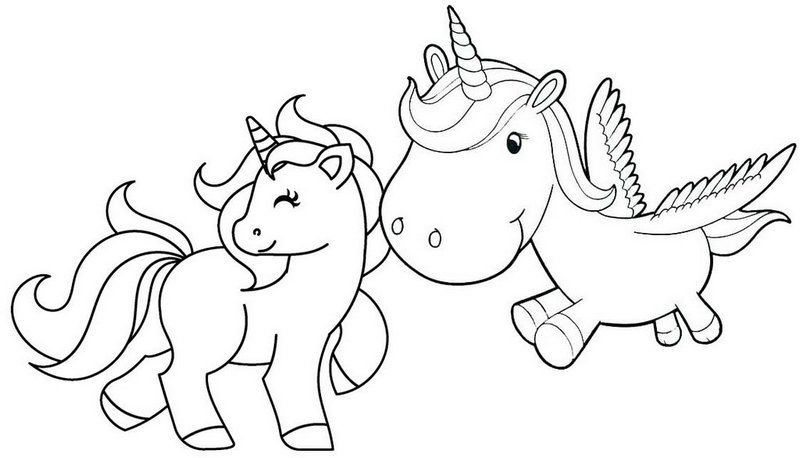 Cute Baby Couple Unicorn Coloring Pages