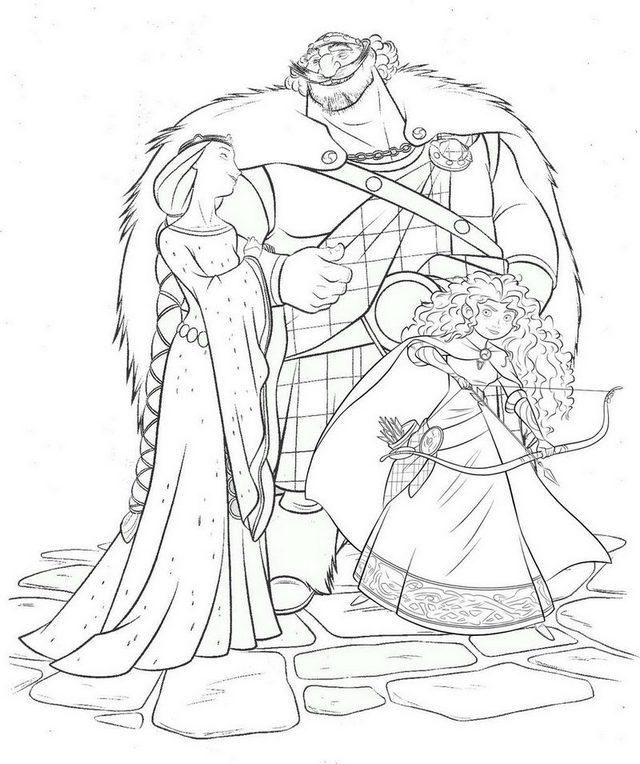 Disney Brave Merida King Fergus Queen Elinor Coloring Page