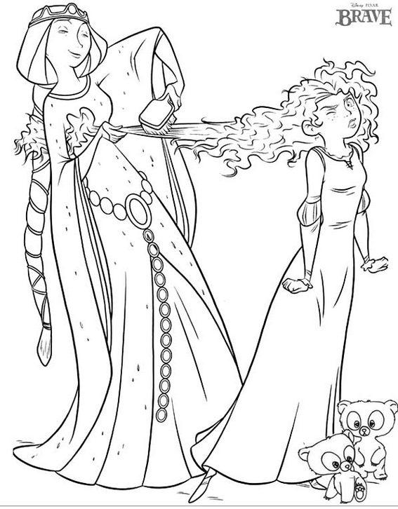 Elinor brushing Merida s hair Disney Brave Coloring Page