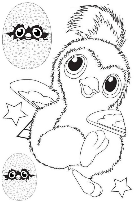 Hatchimals White Penguala Coloring Page