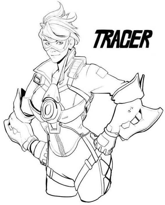 Lena Oxton Tracer Overwatch Coloring Page