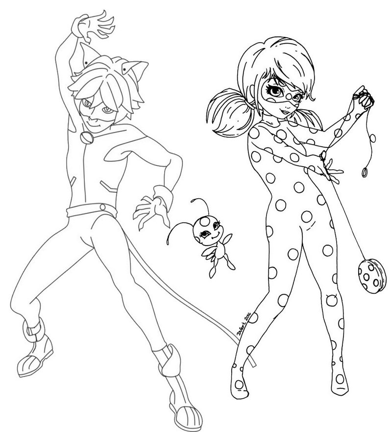 Power Couple Ladybug and Cat Noir Coloring Page