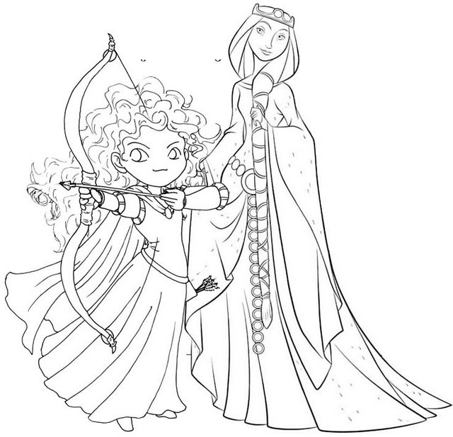 Princess Merida and Queen Elinor from Brave Coloring Page