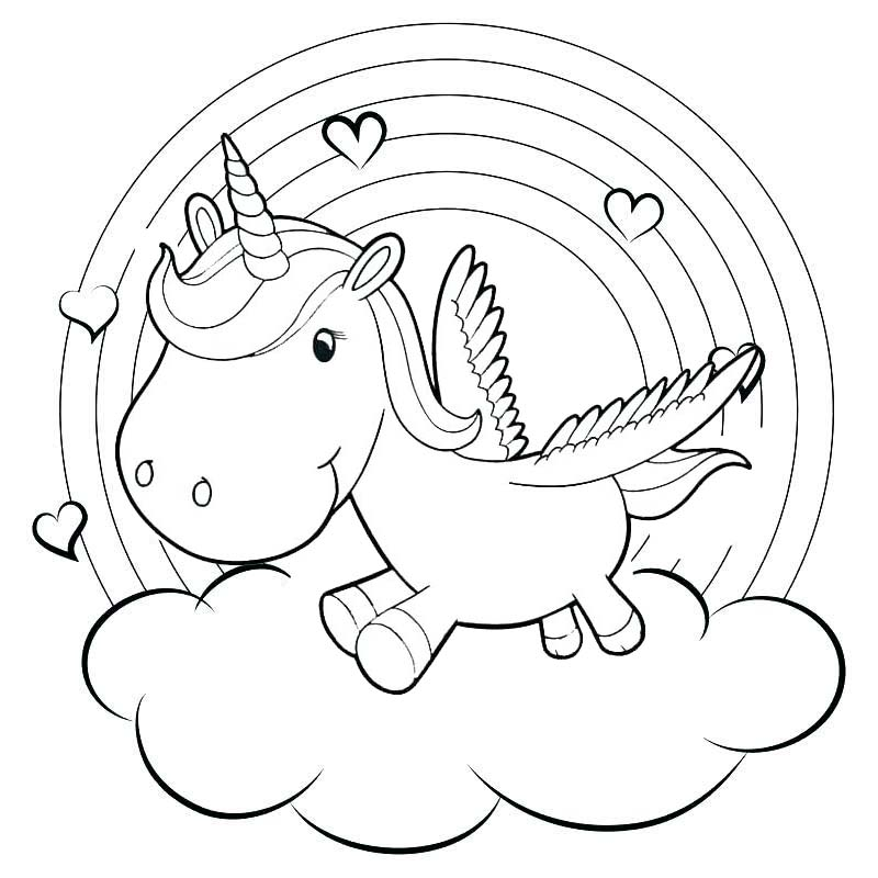 Rainbow Baby Unicorn Coloring Pages
