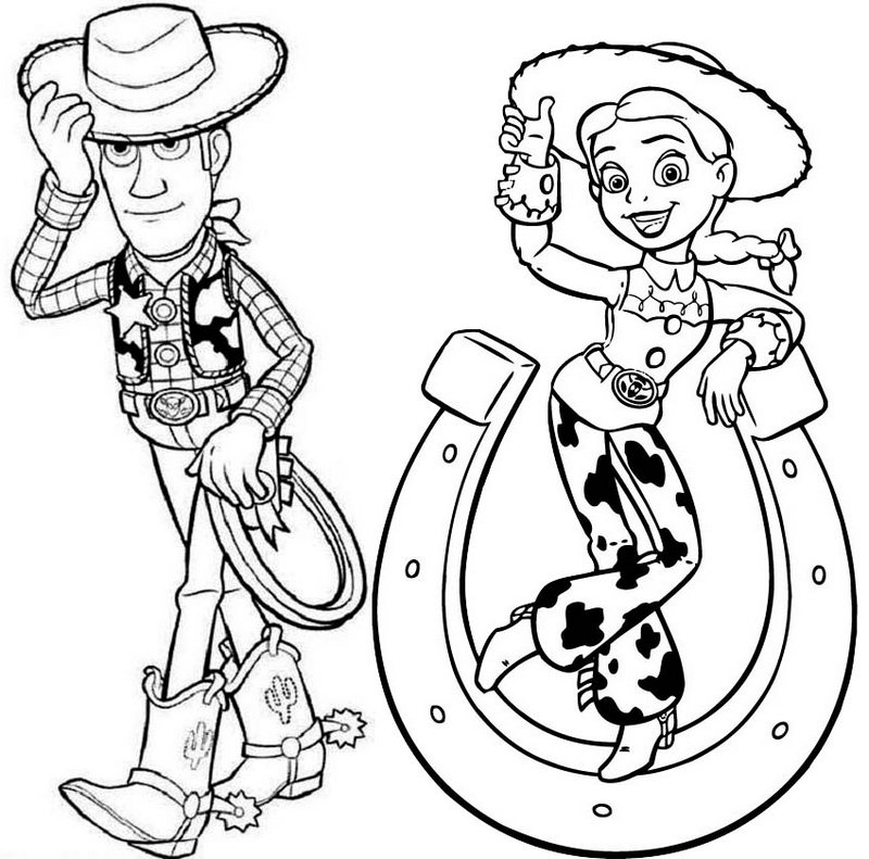 Sheriff Woody and Jessie Coloring Page