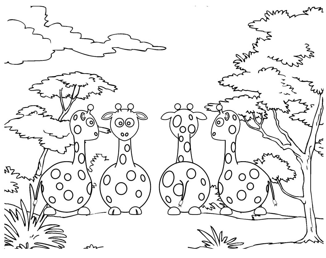 fun and interesting baby giraffe in forest coloring pages