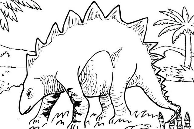 fun stegosaurus coloring page