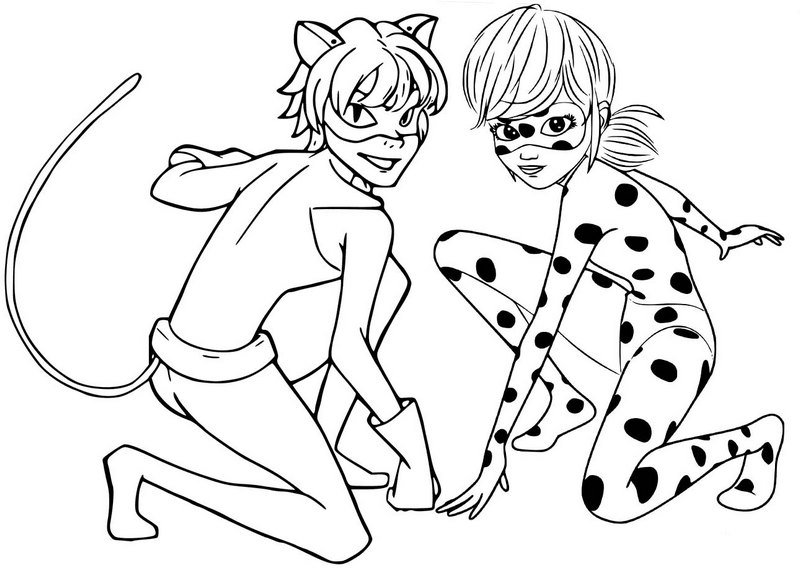 ladybug and cat noir coloring page