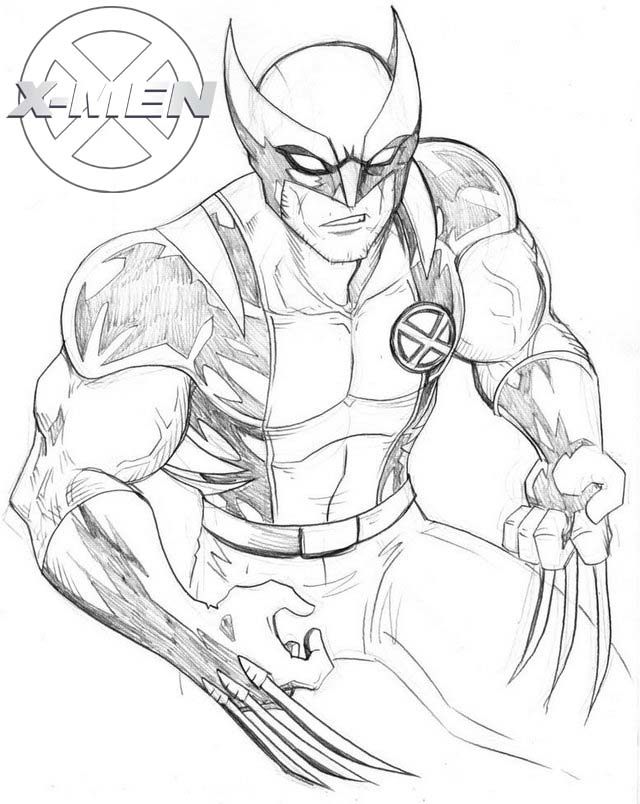 printable x men fictional superhero coloring page