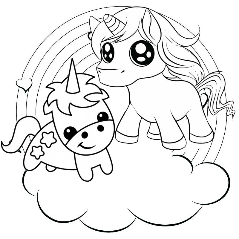 rainbow two baby unicorns coloring pages