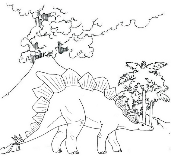 stegosaurus with mountain coloring page