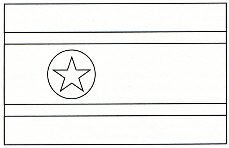 the national flag of northkorea coloring page