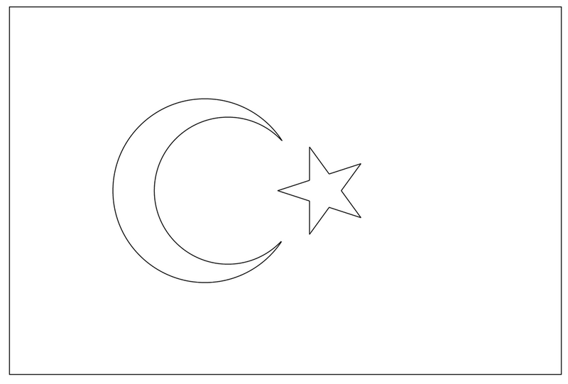 the national flag of turkey coloring page