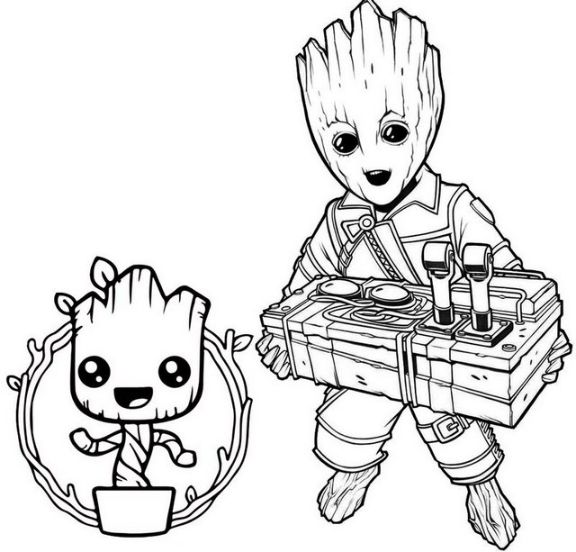 Bobblehead Baby Groot Bomb Coloring Page