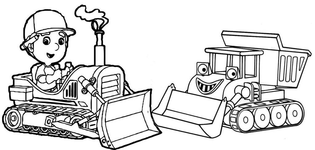 Cartoon Bulldozer Coloring Page