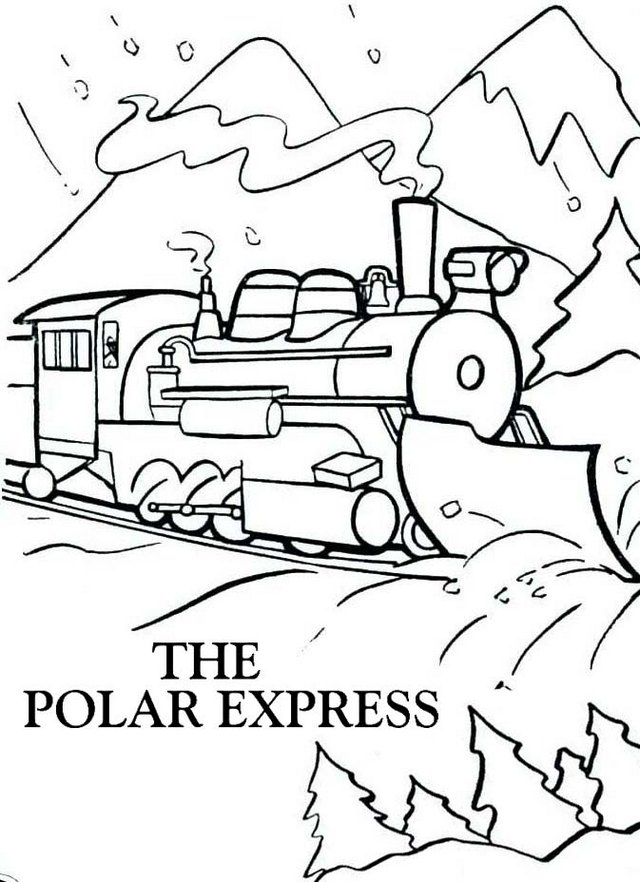 Christmas polar express winter coloring page