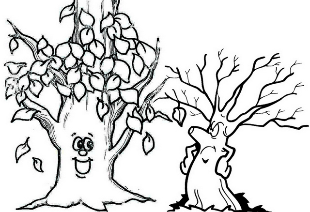 Cute Fall Tree Cartoon Coloring Page