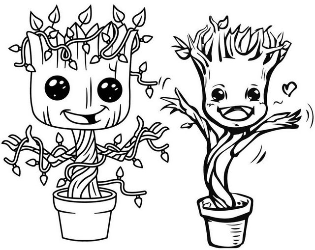 Dancing Baby Groot Plant Coloring Page