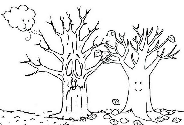 Fall Tree Cartoon Coloring Page