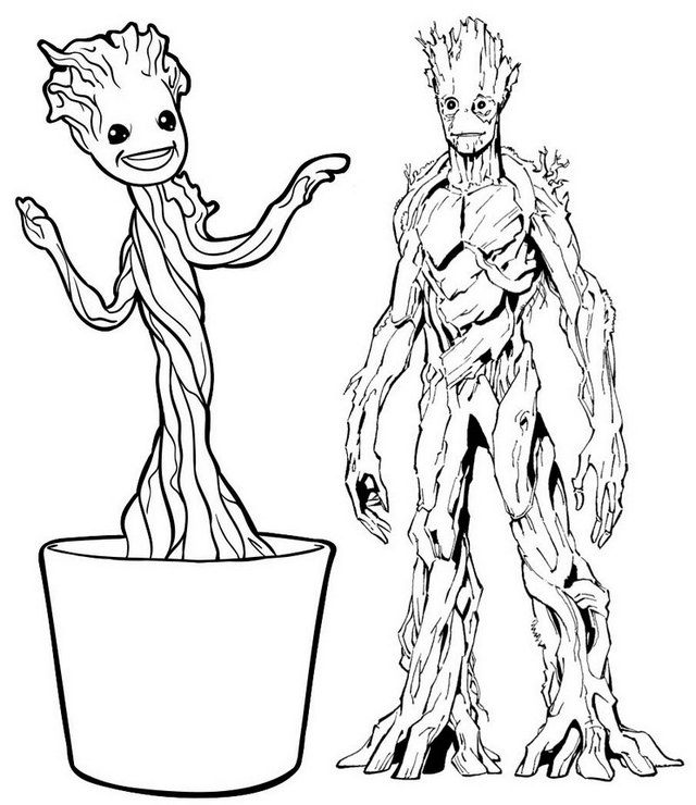 Guardians of Galaxy and Little Groot Coloring Page