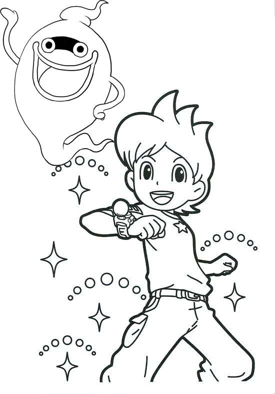 Nathan Adams and Whisper Yo Kai Watch Coloring Page