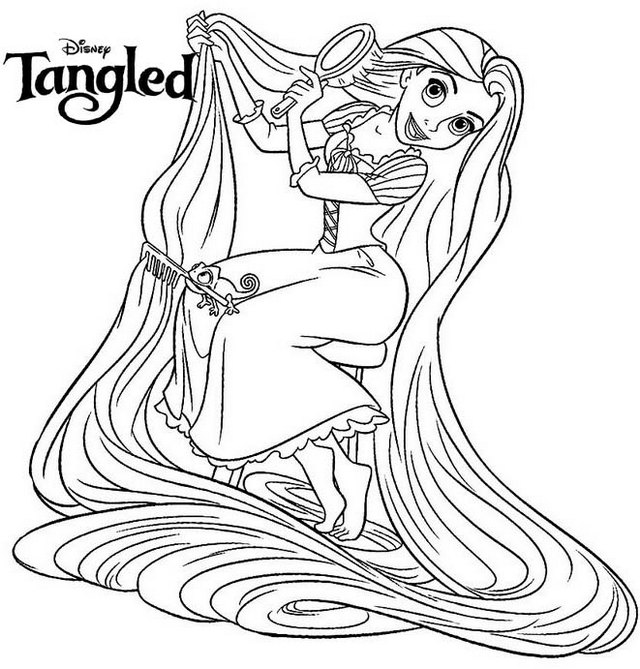 Princess rapunzel coloring page for girls
