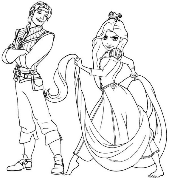 Rapunzel and Flynn Coloring Page for Disney fans