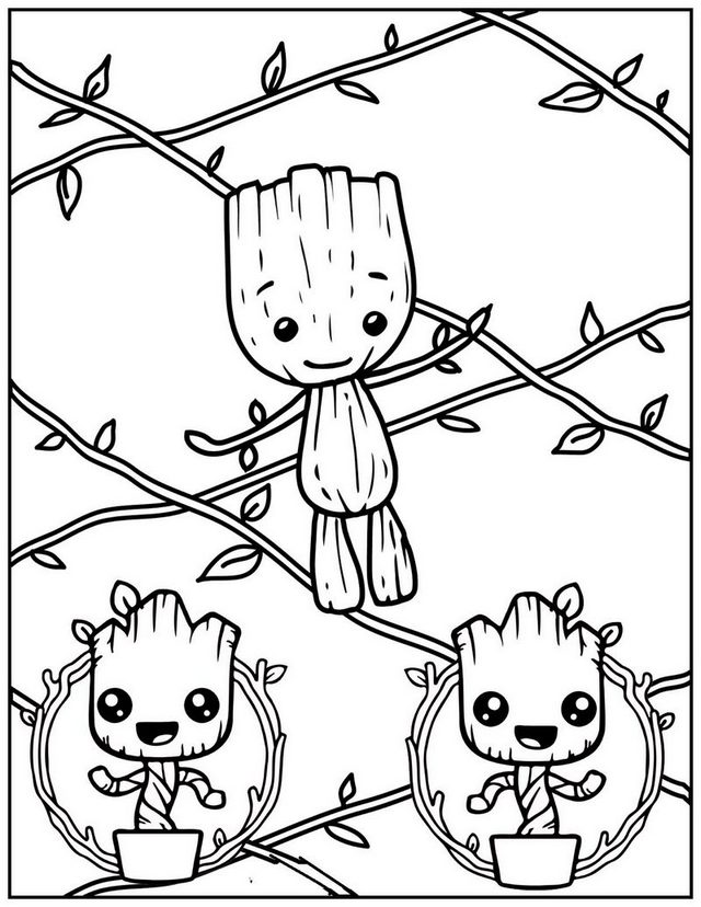 Tiny Baby Groot Plant Coloring Page