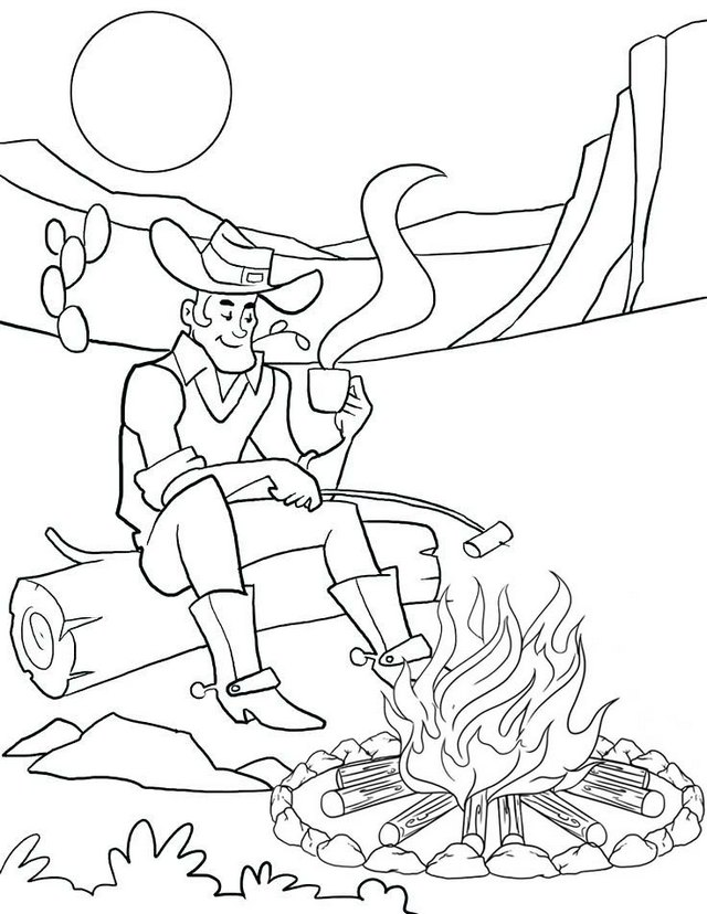 cowboy warming body through campfire coloring pages