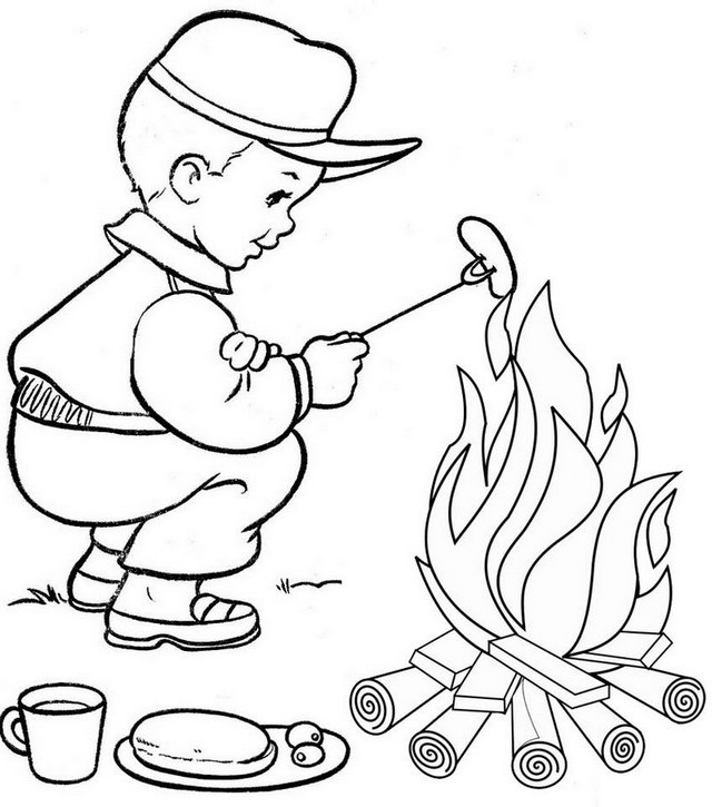 fun campfire coloring page for kids