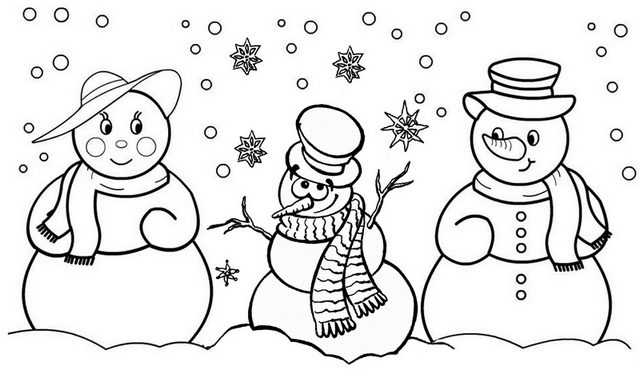 Best Family Snowman Coloring Page