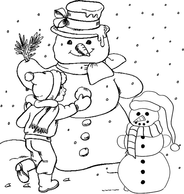 Building Snowman Coloring Page