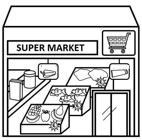 Cartoon Supermarket Coloring Page