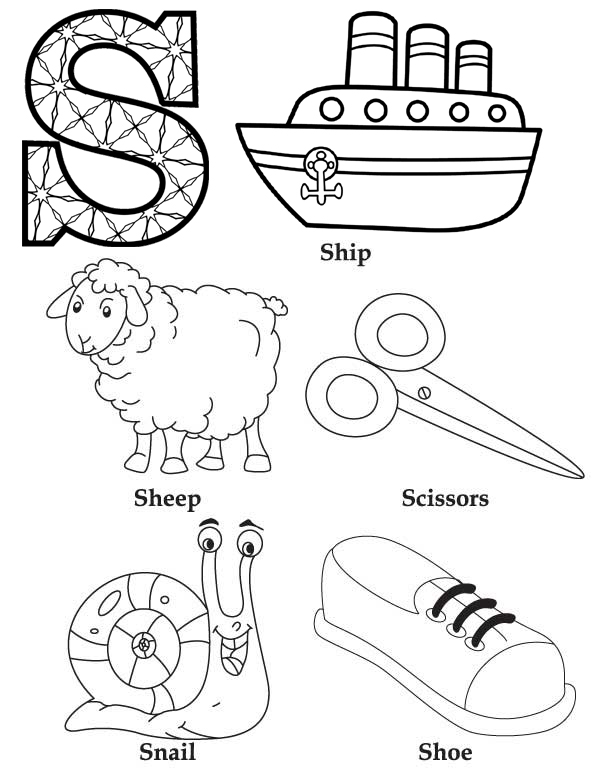 Diagram Letter S initial names of things coloring page