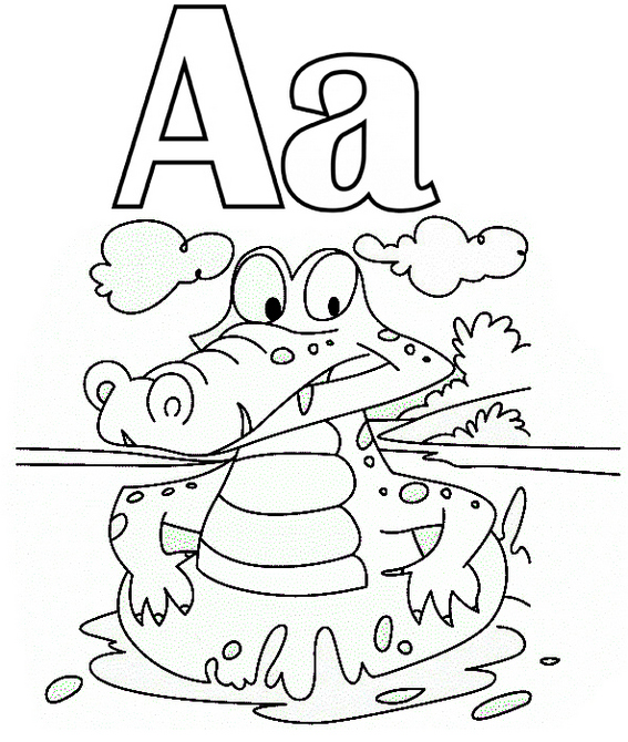 Letter A for alligator coloring page