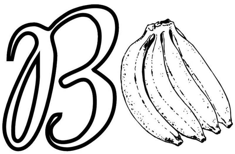 Letter B for Banana Coloring Alphabet Learning Page for Kids