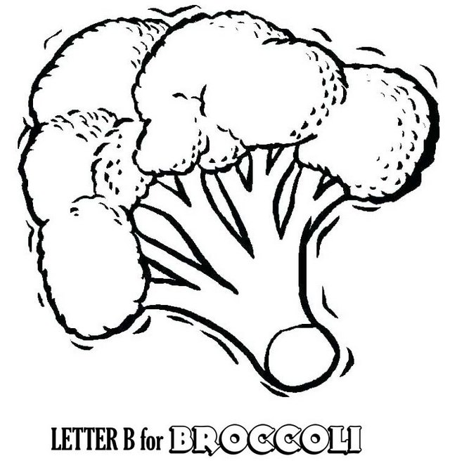 Letter B for Broccoli Coloring Page for Children