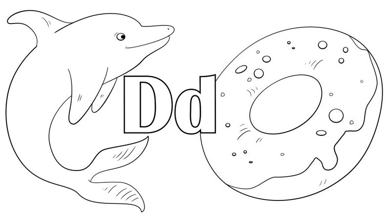 Letter D for Dolphin and Donuts Coloring Page