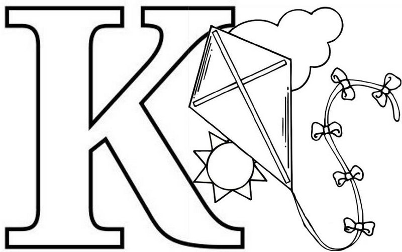 Letter K for Kite Coloring Page