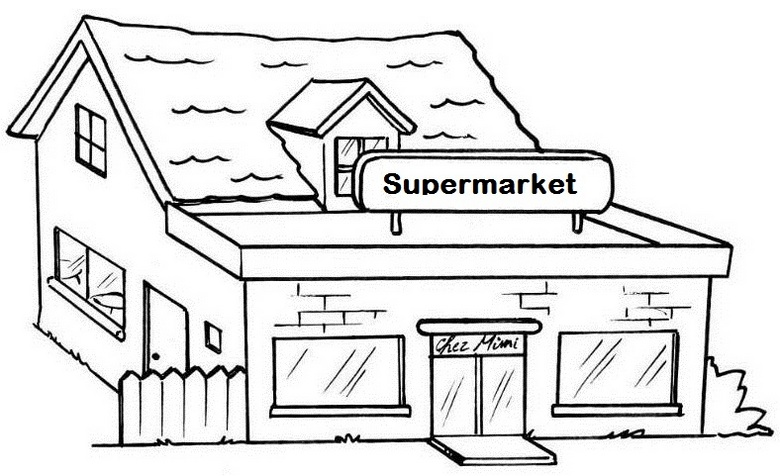 Lux Supermarket Coloring Page