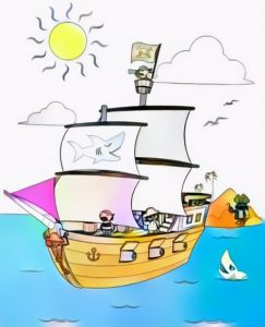 Pirate Ships Coloring Work from Bara