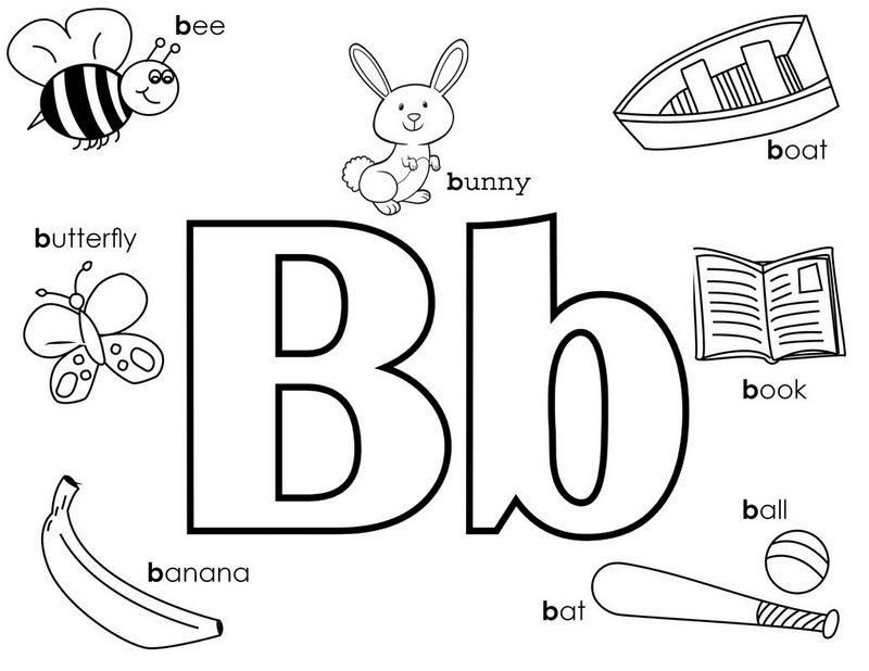 Recognize Letter B themed Coloring Page