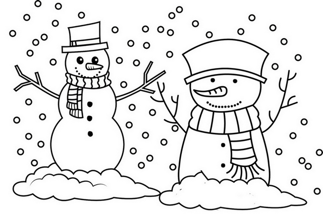 Snowman Lights Coloring Page