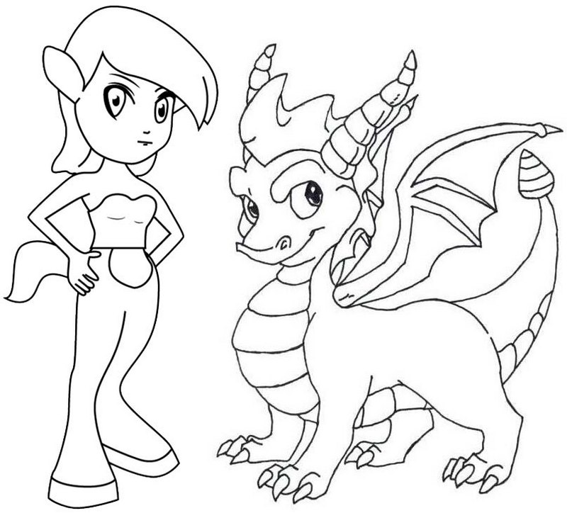 Spyro and Elora Coloring Page
