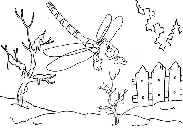 dragonfly in the snow coloring page