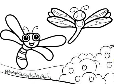 fun dragonfly cartoon coloring page