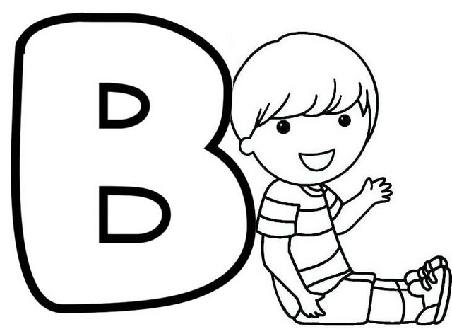 teaching letter b boy themed coloring pages