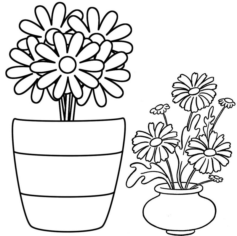Beautiful Flower Pot Coloring Page